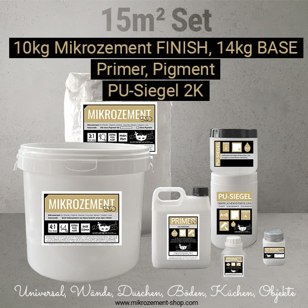 Mikrozement Set Universal mit Finish und Base 15m2