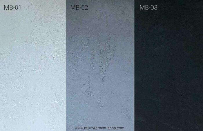 Mikrobeton Farben weiss, grau, anthrazit