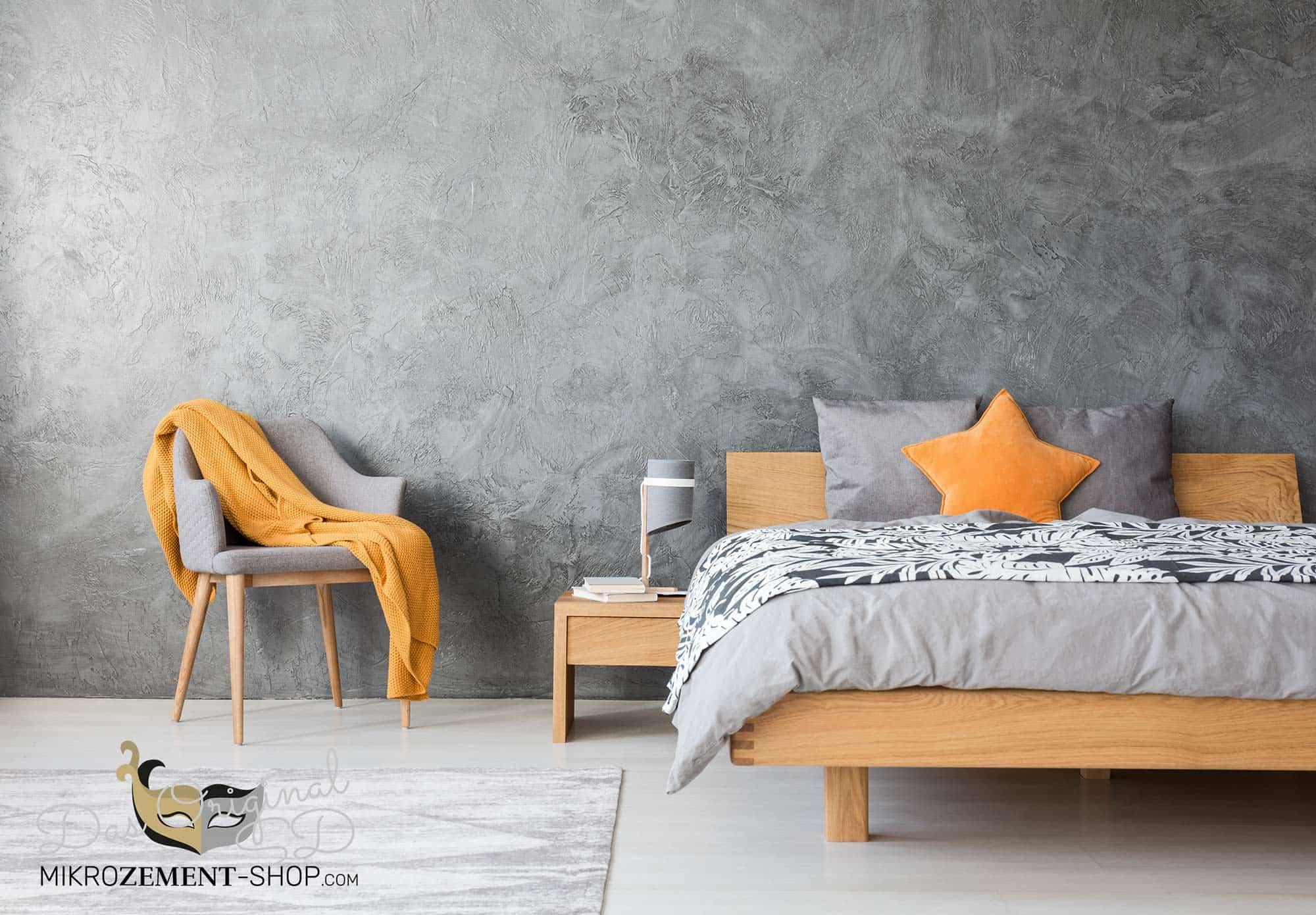 Mikrozement grau im Schlafzimmer Wand