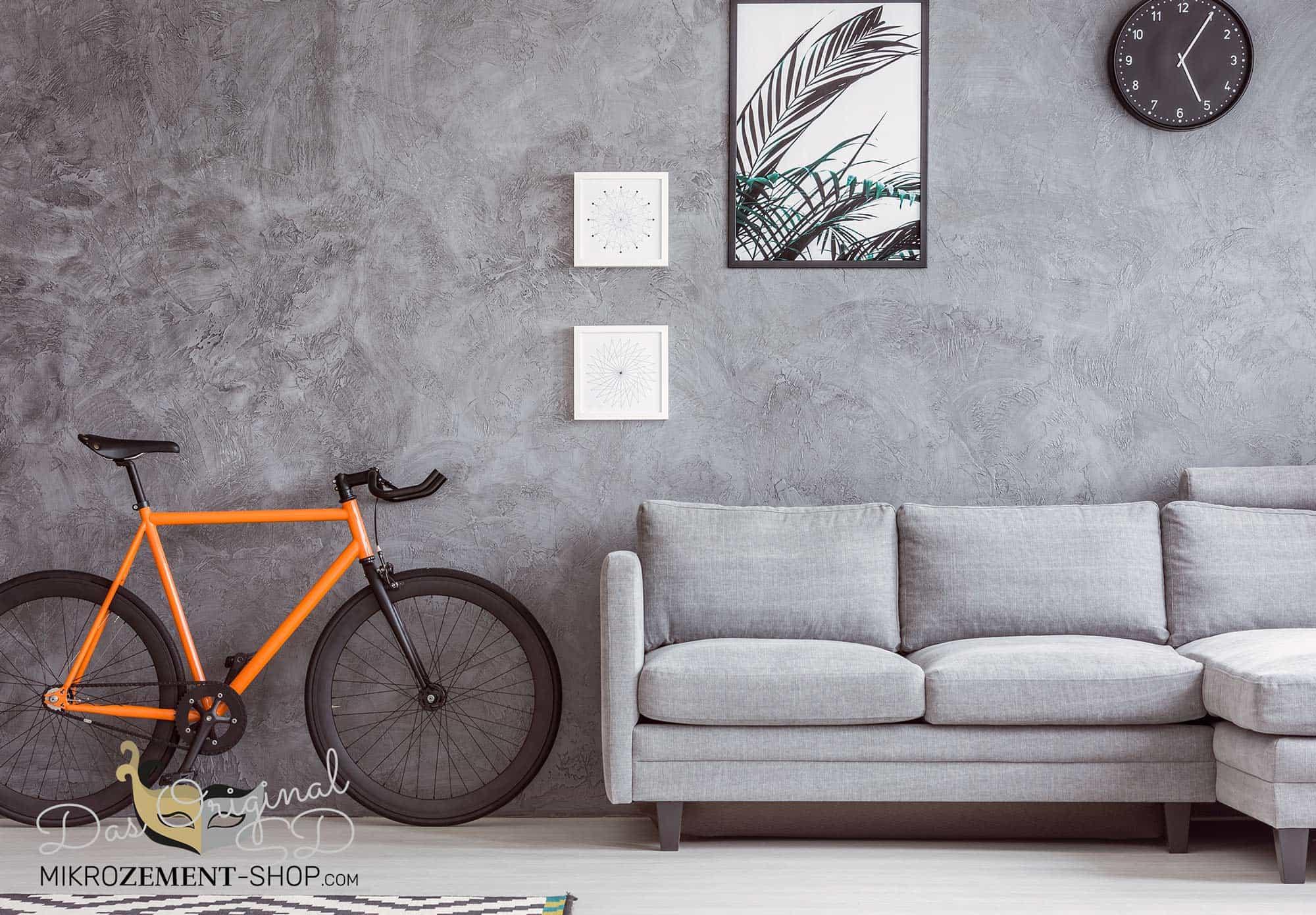 Wohnzimmer Mikrozement Wand Loft