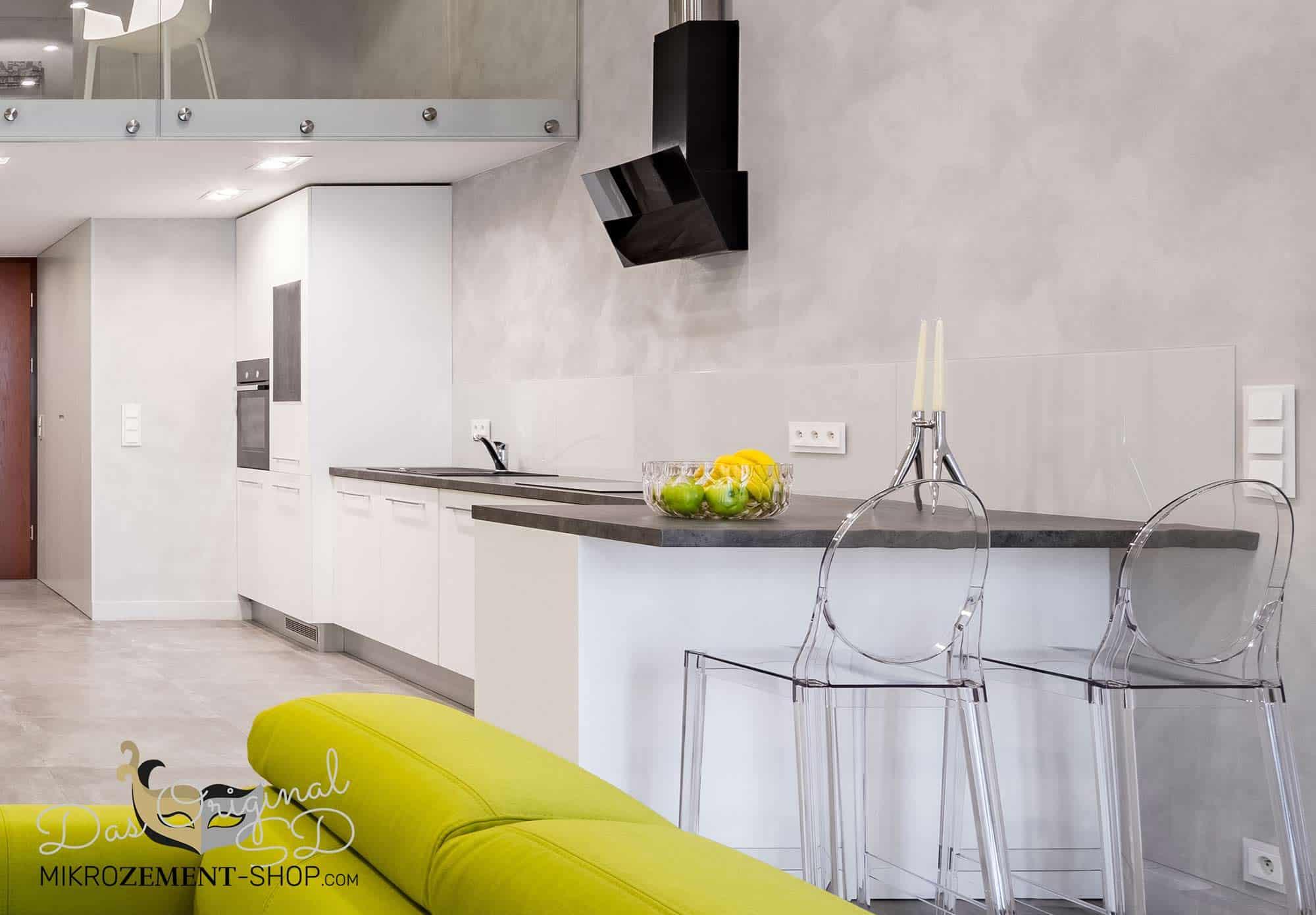 Mikrozement Wand Küche Wohnwand Loft grau