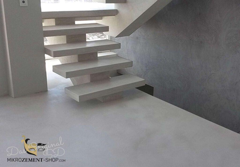 Mikrozement Treppen in weißem Zement Betonlook