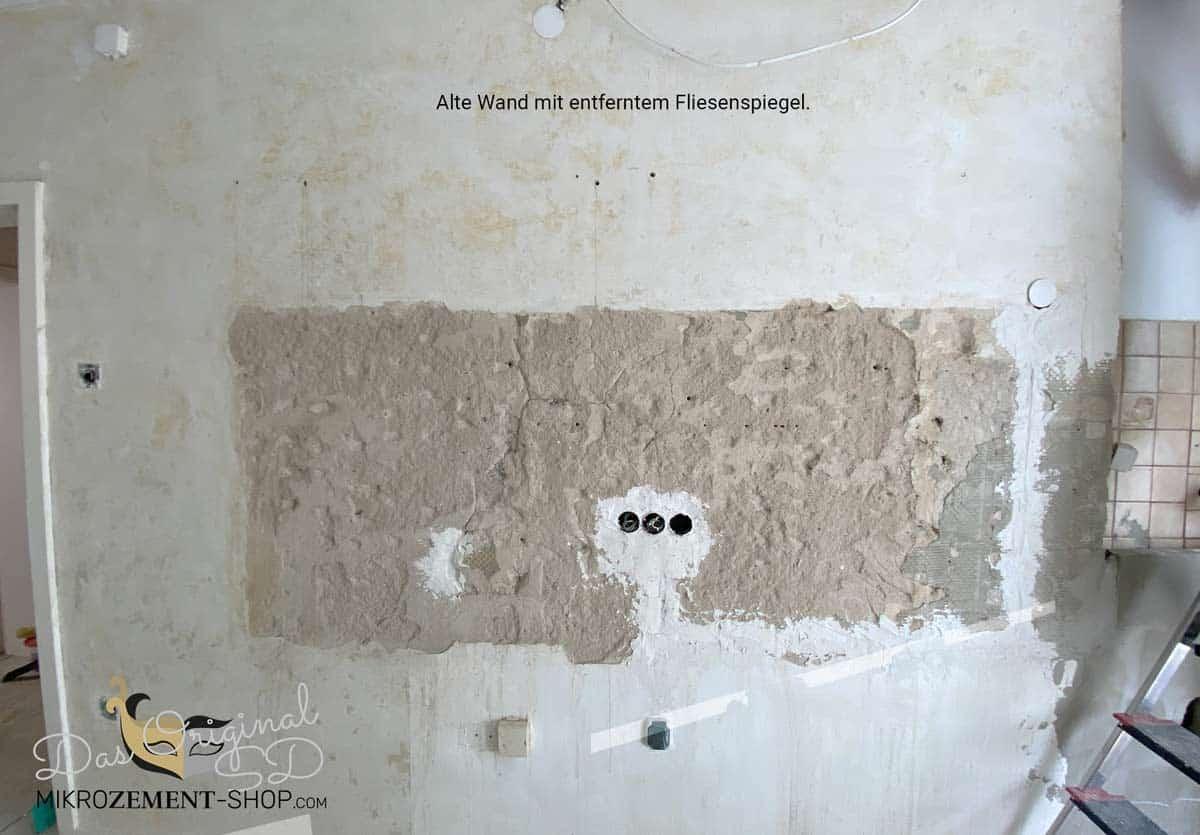 Wand vorher Mikrobeton