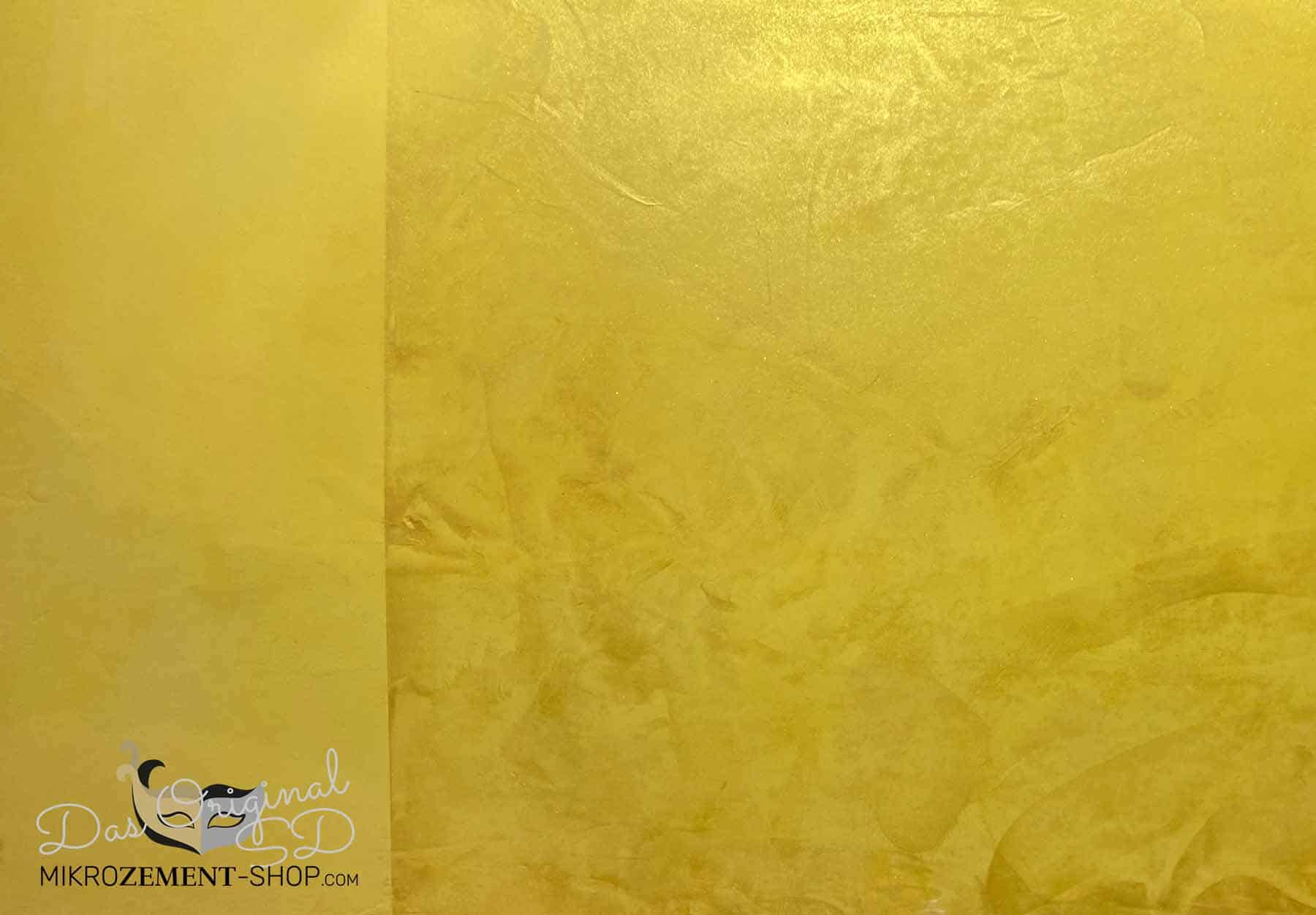 Goldenes Mikrozement auf unterschiedlicher Art