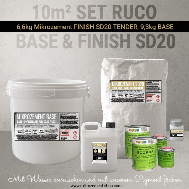 10 m2 Mikrozement Set SD rucopur siegel