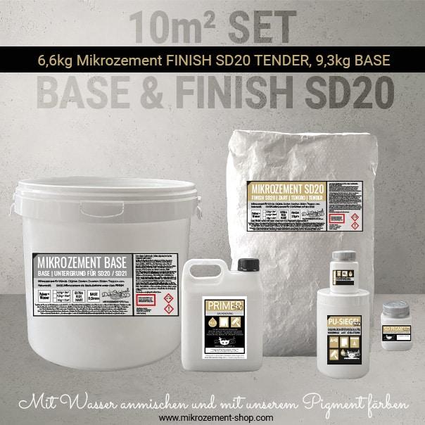 10m2 Mikrozement Set mit Primer und Siegel in Farben
