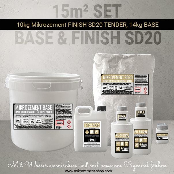 Mikrozement Set mit 15 m2 und Primer und PU-Siegel