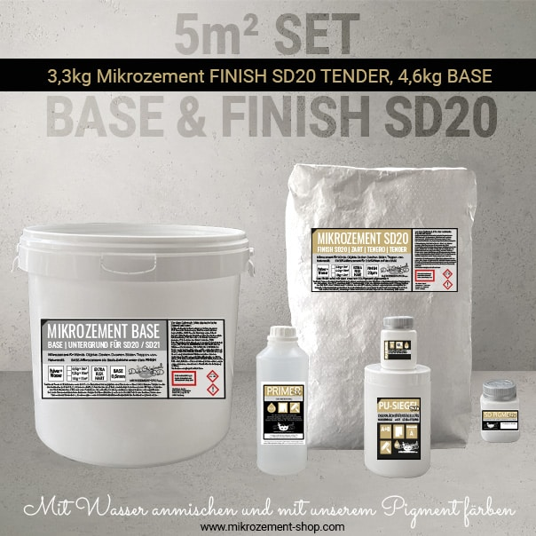 5m2 Mikrozement Set mit Versiegung wasserdicht