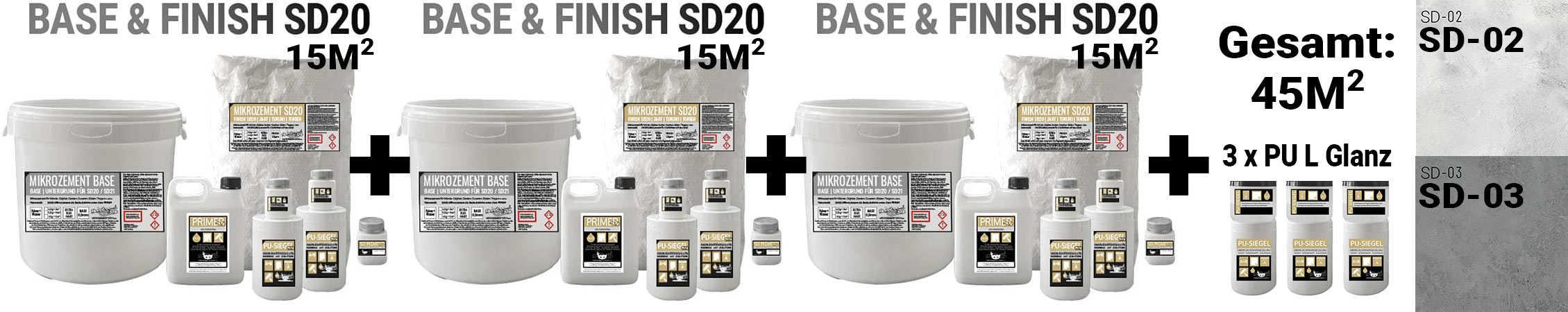 Mikrozement SD Set Aktion mit 45m2 komplett Angebot